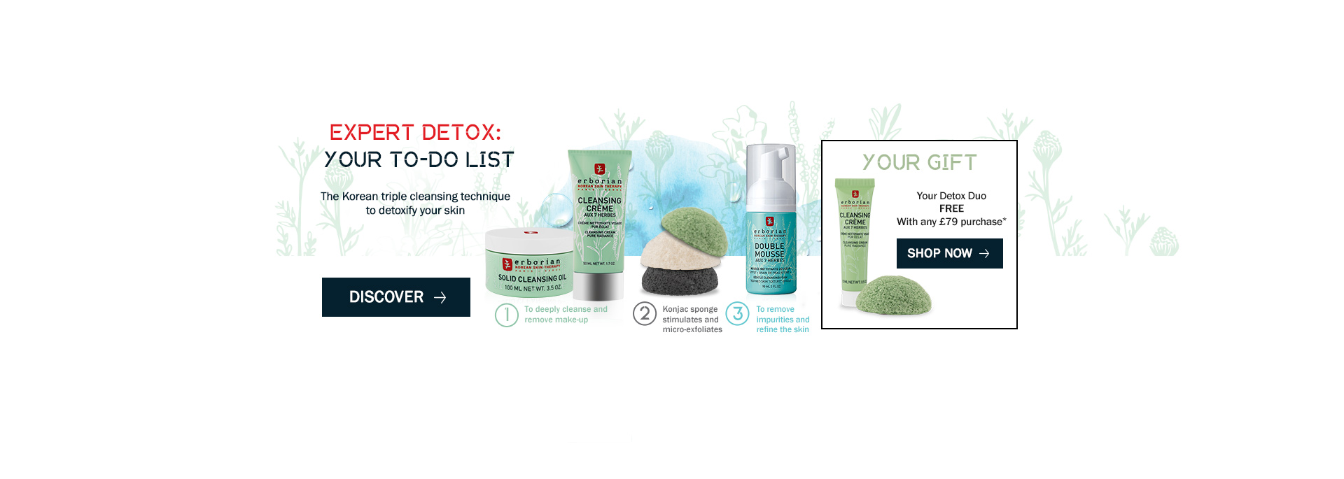Your detox to do list and your offer : Receive your detox duo with any £79 purchase