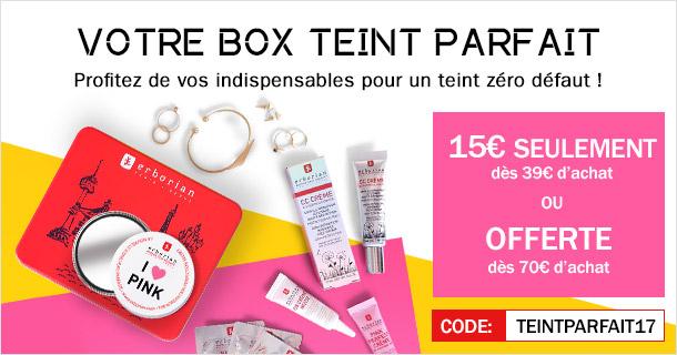 Profitez de votre box teint parfait à 15€ dès 39€ d'achat ou offerte dès 70€ d'achat* !